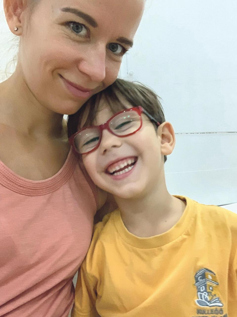 Katarina Rafajova and her son Luca, who has a severe nut allergy and whose paediatrician has warned that he is never to leave the house without an EpiPen.