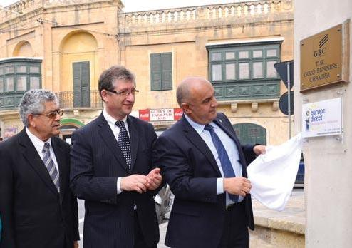 Martin Bugelli (far right) unveiling a plaque marking the opening of the new EU centre, with Michael Grech, and Joseph Grech (left). File photo 2013: Charles Spiteri