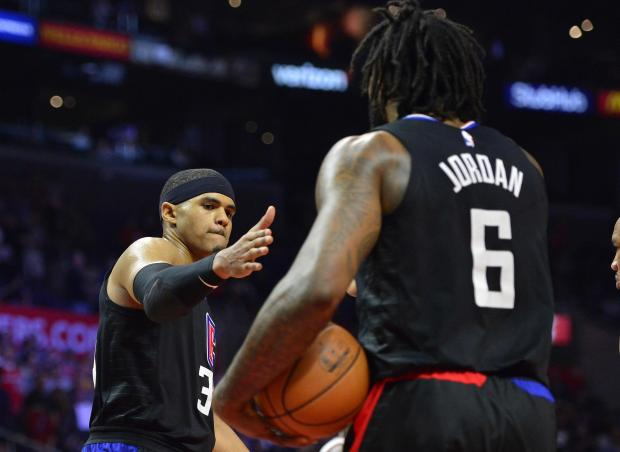 Los Angeles Clippers forward Tobias Harris (34) and center DeAndre Jordan (6).