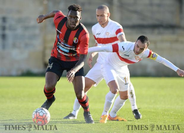 Ħamrun striker Mathieu Manset (left) moves past Dylan Grima, of Balzan during their BOV Premier league match at the Hibernians Stadium in Paola on February 4. Photo: Matthew Mirabelli
