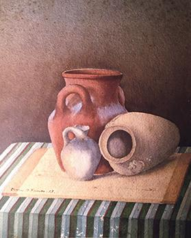 A painting of pottery by Thomas Formosa when he was still a student.
