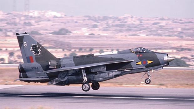 English Electric Lightning F.6 from 11 Squadron landing on runway 06.
