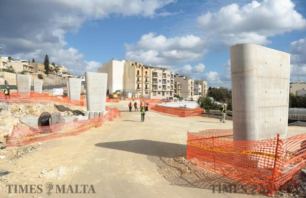 Works on the €26 million Kappara junction reach the halfway point with the project set to be completed by the end of this year, Transport Minister Joe Mizzi announces at a press conference on January 13. Photo: Matthew Mirabelli