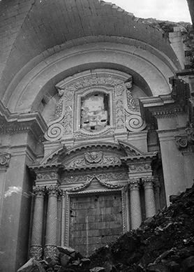 The badly damaged Mqabba church following the bombing, in which five people were killed.