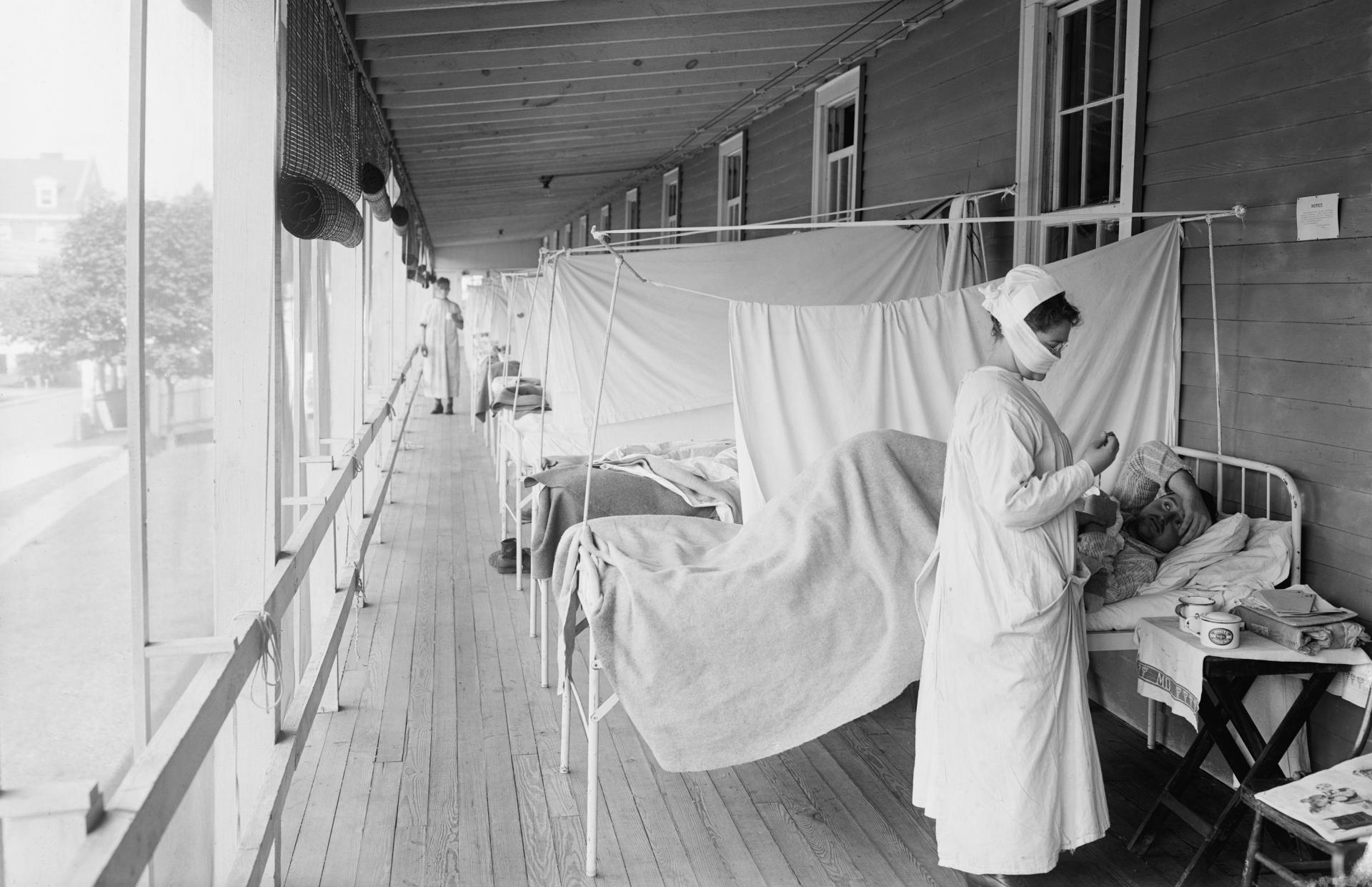 The The Walter Reed Hospital flu ward during the Spanish Flu epidemic of 1918-19 in Washington DC. Photo: Shutterstock