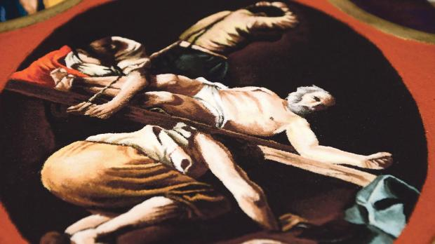 A salt replica of Caravaggio's The Crucifixion of St Peter