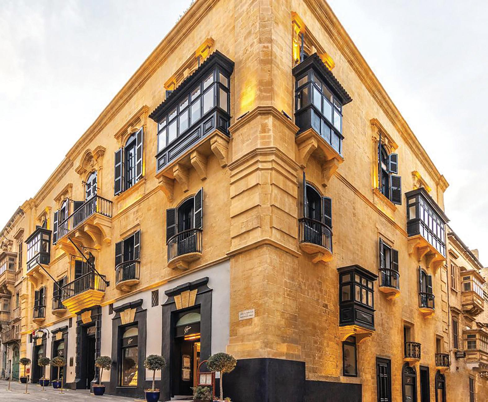 The German consulate was formerly housed in this 17th-century house in Merchants Street, corner with St Christopher Street, Valletta, which is now the Rosselli Hotel.