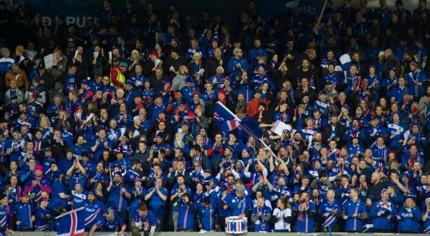 Iceland fans celebrate.