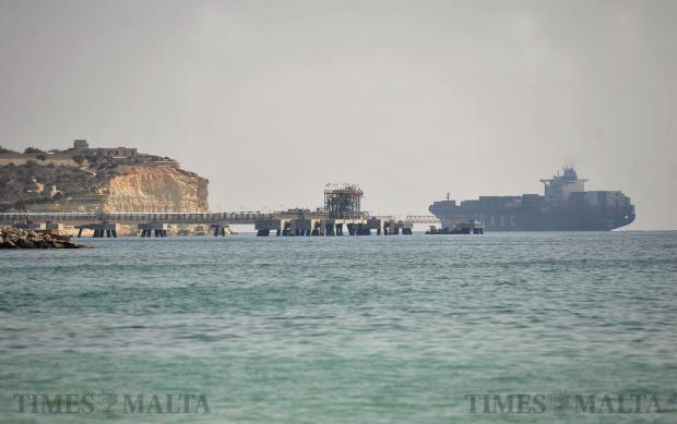 A container ship leaves the Malta Freeport on September 14. Photo: Chris Sant Fournier