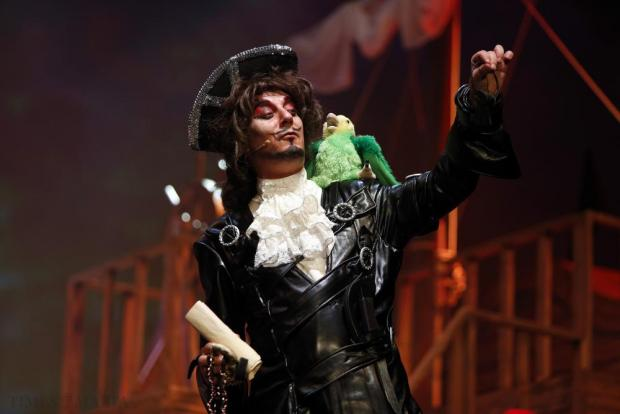 "Actor Alan Montanaro plays Long John Swagger in MADC's pantomime ""Treasure Island"" at the MFCC in Ta' Qali on December 18. Photo: Darrin Zammit Lupi"