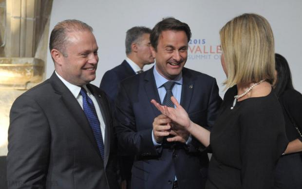 Prime Minister of Luxembourg Xavier Bettel (centre) speaks with Vice-President of the European Commission Federica Mogherini (right) and Prime Minister of Malta Joseph Muscat (left) before the start of the first Round Table meeting at the Valletta Summit of Migration in Malta on November 11. Photo: Matthew Mirabelli