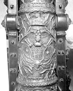 The profuse decoration on the Ximenes Canon's barrel and its carriage includes the shield-of-arms of the Order of St John and of Grand Master Francisco Ximenez de Texado (1773-1775). Photo: Copyright of the Board of Trustees of the Royal Armouries