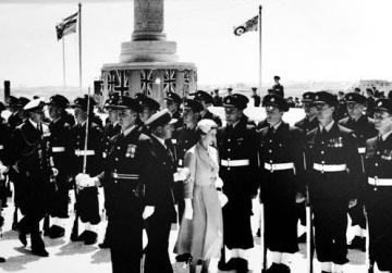 Queen Elizabeth inspects a guard of honour at the unveiling of the Memorial to the Air Forces of the Commonwealth in Floriana in 1954.