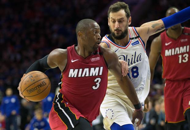 Miami Heat guard Dwyane Wade (3) drives against Philadelphia 76ers guard Marco Belinelli (18) during the second quarter in game two of the first round of the 2018 NBA Playoffs at Wells Fargo Center. Mandatory Credit: Bill Streicher-USA TODAY Sports