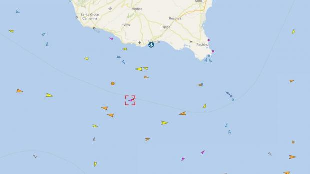 The Golfo Azzurro rerouted north towards Sicily earlier today... Image: Vessel Finder