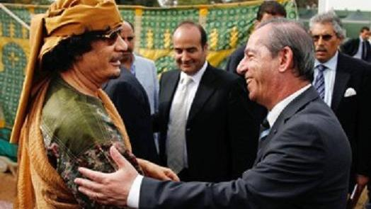 Prime Minister Lawrence Gonzi meets Gaddafi in Tripoli.