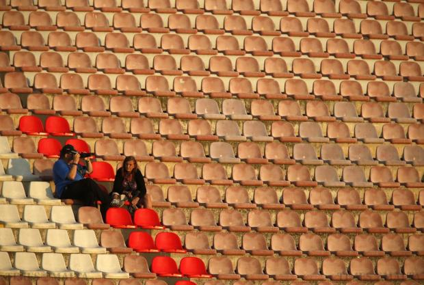 Supporters sit in an almost empty Millennium Stand during the Premier League football match between Sliema Wanderers and Naxxar Lions at the National Stadium in Ta'Qali on October 24. Photo: Darrin Zammit Lupi