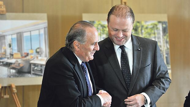 Corinthia chairman Alfred Pisani with the Prime Minister.
