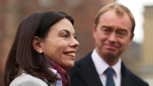 Party leader Tim Farron and newly-elected Liberal Democrat MP Sarah Olney speak to the media.