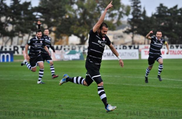Balzan's Elkin Serrano celebrates scoring a goal against Floriana during their Premier League football match at the Hibs Stadium in Corradino on March 5. Photo: Steve Zammit Lupi