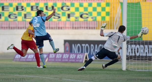 Birkirkara striker Liliu (left) scores his side's second goal against Zebbug Rangers at the National Stadium on August 23. Photo: Matthew Mirabelli