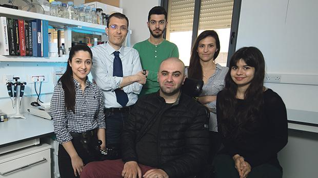 The Malta ALS Research Team, including Dr Cauchi, second from left, first author for the study Maia Lanfranco on the right, with Bjorn Formosa, seated, who set up the ALS Malta Foundation after he was diagnosed with the condition. Photo: University of Malta
