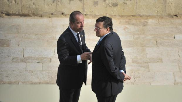 Dr Gonzi with EU Commission President Jose Manuel Barroso at the Upper Barrakka Gardens. Photo: Jason Borg