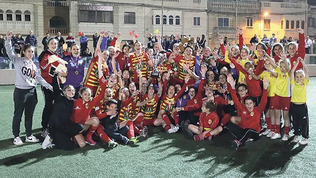 The Birkirkara players and staff celebrate their double with the Knock-Out trophy. Photos: Domenic Aquilina/Malta FA