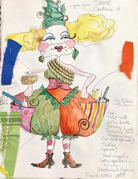 One of Isabel Warrington's sketches for Lady Frakassat's costumes.