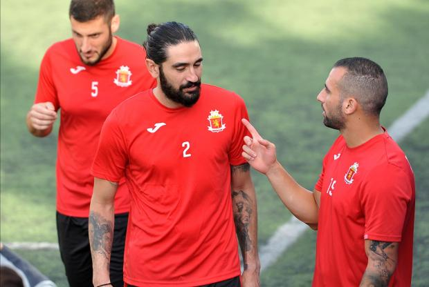 Jonathan Caruana (centre) returned to training with Valletta on Friday. Photo: Chris Sant Fournier