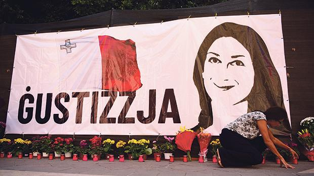 A banner erected yesterday morning by activists calling for justice for slain journalist Daphne CaruanaGalizia,at the site of the Great Siege monument in Valletta, was taken down by government workers in the afternoon. It was later again erected. Campaignerswill today mark the 11th month since the journalist's assassination. Photos: Mark Zammit Cordina