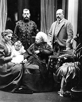 An 1896 royal family group photo showing (from left) Queen Alexandra with young Anastasia, Tzar Nicholas II, Queen Victoria and the future King Edward VII.