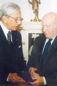 2002 file photo of then President Guido de Marco and Judge Maurice Caruana Curran following the presentation to Din l-Art Helwa of the Europa Nostra silver medal of honour.