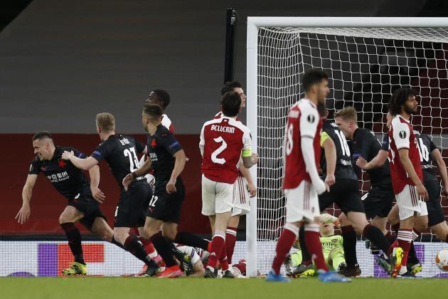 Arsenal denied Europa League win by late Slavia goal