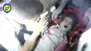 Watch: Footage shows five-year-old girl pulled from Syria rubble