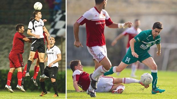 Hibs midfielder Bjorn Kristensen jumps highest to win this aerial challenge during his side's 2-1 win over Ħamrun. Photo: Paul ­Zammit Cutajar. Right: Floriana's new signing Igor Coronado (right) defends possession during the 2-2 draw against Melita. Photo: Paul Zammit Cutajar
