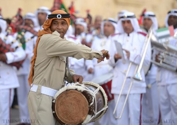 A member of the Abu Dhabi Police Force Band performs in St George's Square, Valletta on October 11. Photo: Matthew Mirabelli