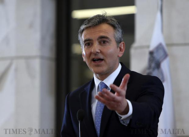 Opposition leader Simon Busuttil addresses a press conference announcing a national protest against corruption following serious allegations concerning government minister Konrad Mizzi, at Parliament House in Valletta on February 29. Photo: Darrin Zammit Lupi