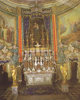 Alessio Erardi's titular painting on the altar in the choir of Żabbar sanctuary. Photo: R. Gialanzé