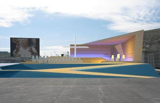 An artist's impression of the Papal stage at Valletta waterfront.