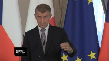 Czech prime minister reiterates opposition to migrant sharing after talks with Joseph Muscat