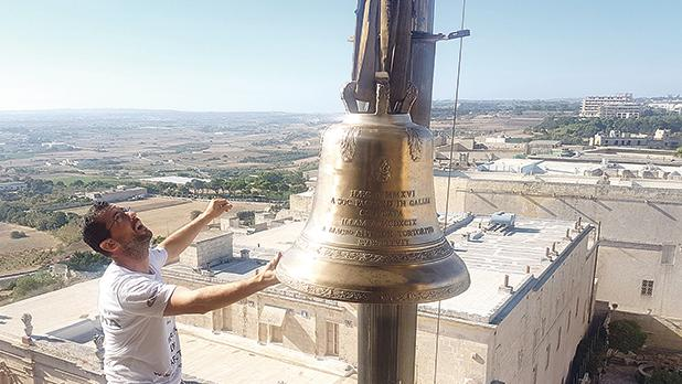 A new bell was yesterday blessed by Archbishop Charles Scicluna and hoisted to the belfry on the right side of the Mdina Cathedral to replace a 15th-century bell which predates the arrival of the Knights of St John to Malta. The historic bell will be showcased at the Cathedral Museum. Photos: Keith Micallef, Chris Sant Fournier