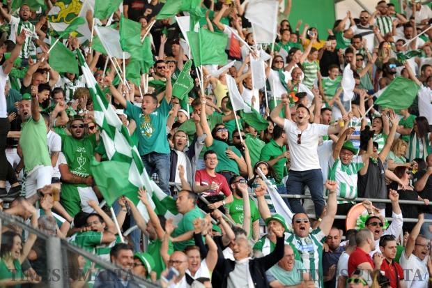 Floriana FC supporters celebrate the scoring of their team's second goal against Sliema Wanderers in the FA Trophy at the National Stadium in Ta'Qali on May 20. Photo: Chris Sant Fournier