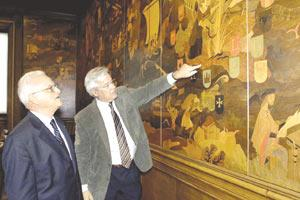 Dr Fenech Adami (left) with Joan Clos, mayor of Barcelona, who is indicating Malta on a reproduction of a 14th century map of the Mediterranean.