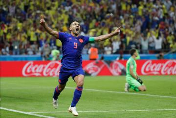 Colombia's Radamel Falcao celebrates scoring their second goal.