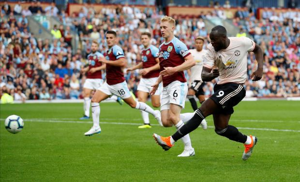 Manchester United's Romelu Lukaku shoots at goal.