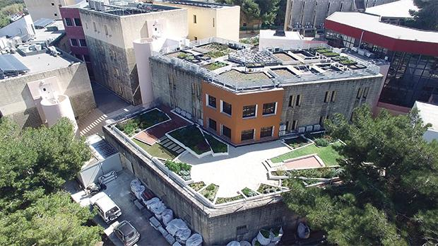 Aerial view of green roof at the Faculty for the Built Environment.
