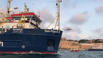Watch: Rescue vessel impounded in Malta sets off at last   The Sea Watch leaving Malta this morning. Video: Marc Tilley, Chad Ashby