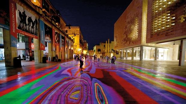 Valletta's Republic Street was transformed into a psychedelic playground through an interactive light installation that forms part of the Malta International Arts Festival. Photos: Darrin Zammit Lupi