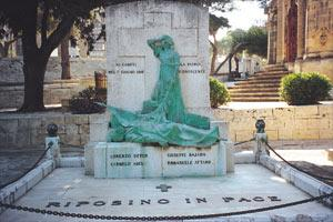 The Sette Giugno monument by Boris Edwards at the Santa Maria Addolorata Cemetery. Picture reproduced from A Journey Through the Centuries: Historical discoveries in Russo-Maltese relations.